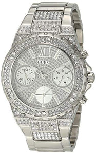 GUESS Women's Analog Watch with Stainless Steel Strap, Silver, 20 (Model: GW0037L1)