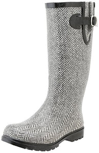 Nomad Footwear Women's Puddles Rain Boot, Grey/White Herringbone, 9 M US