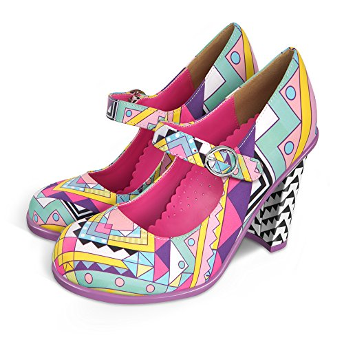 Hot Chocolate Design Chocolaticas High Heels Geometric Women's Mary Jane Pump Multicoloured US Size: 8