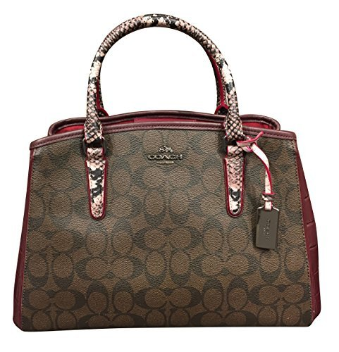 Coach F38380 Signature Exotic Small Margo Carryall - Brown Oxblood