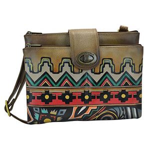 Anuschka Handpainted Rfid Blocking Double Zip Crossbody Organizer, Antique Aztec
