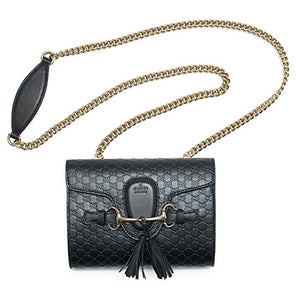 7db7405d40 Gucci Emily Guccissima Mini Shoulder Bag Black Leather Handbag New