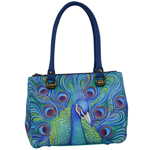 Anuschka Hand Painted Leather Women'S Triple Compartment Medium Tote, Jeweled Plume