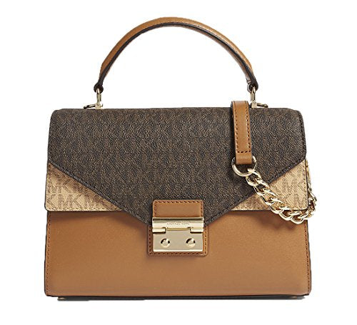 MICHAEL Michael Kors Sloan Medium Logo and Leather Satchel - Btrn/Brn/Acr