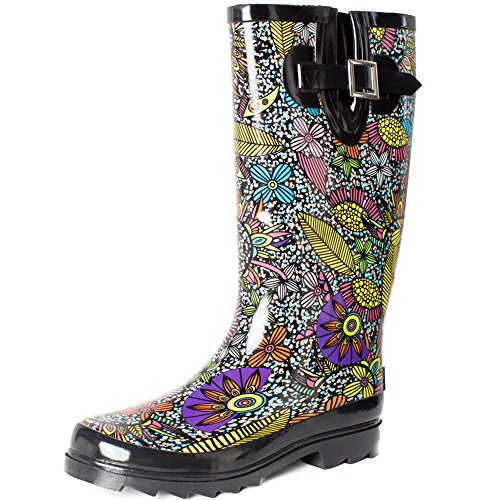 SheSole Women's Waterproof Rubber Rain Boot Black US 8