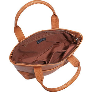 Le Donne Leather Double Strap Small Pocket Tote (Tan)