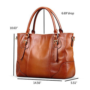 Kattee Vintage Genuine Soft Leather Shoulder Handbag Brown