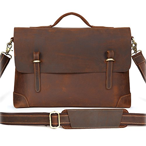 Kattee Genuine Leather Messenger Bag Tote, Leisure 15 Inch Laptop Briefcase Coffee