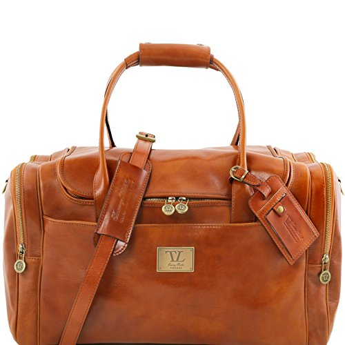 Tuscany Leather TL Voyager Travel leather bag with side pockets Honey