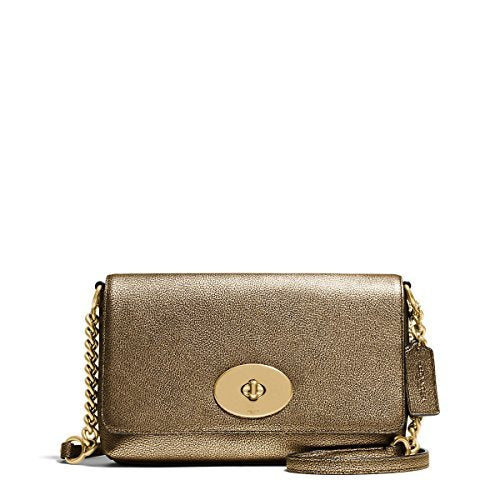COACH Women's Metallic Pebble Leather Crosstown Crossbody Li/Gold One Size