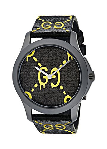 Gucci Unisex-Adult Analogue Classic Quartz Watch with Rubber Strap YA1264019