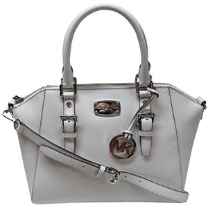 06178a34440d Michael Kors Ciara Large Top Zip Saffiano Leather Satchel (Optic White)