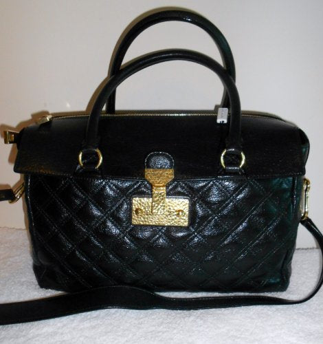 Marc Jacobs NEW Rudi Baroque Black Brass Leather Satchel Bag Handbag Purse Italy