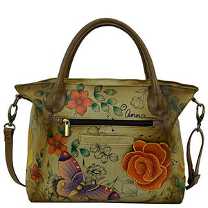 Anuschka Anna Handpainted Leather Slouch Tote Bag-Village of Dream