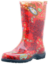 Sloggers  Women's Waterproof Rain and Garden Boot with Comfort Insole, Paisley Red, Size 9, Style 5004RD09