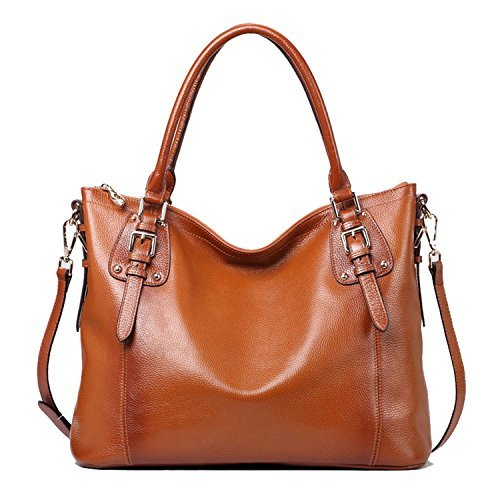 Kattee Women's Vintage Genuine Soft Leather Tote Shoulder Bag (Sorrel, Large)