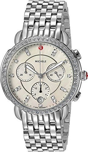 MICHELE Women's 'Sidney' Swiss Quartz Stainless Steel Casual Watch, Color:Silver-Toned (Model: MWW30A000001)