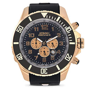 Japanese Quartz Movement Water Resistant Watch in ION Plated Rose Gold Stainless Steel with Black Silicone Band