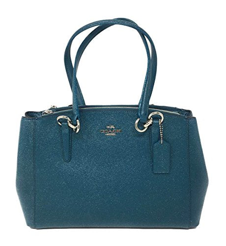 Coach Crossgrain Leather Glitter Small Christie SV/Dark Teal
