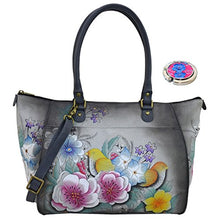 Anna by Anuschka Leather Hand Painted Tote Handbag Shoulder Purse Holder Bundle (Vintage Garden Grey Shopper)