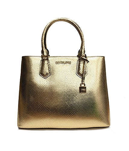 Michael Kors Adele LG Satchel Pale Gold Embossed Leather (35T8MAFS3M)
