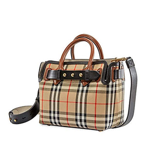 Burberry Womens Baby Belt Vintage Check Satchel Handbag Beige Small