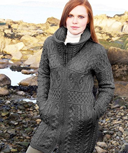 Aran Crafts Women's Double Collar Coat X-Large Charcoal