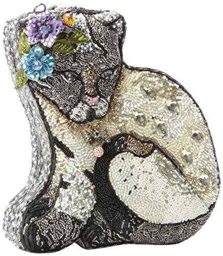 Mary Frances Extensively Beaded Crystal 3D Jeweled Flower Cool Cat Kitty Feline Handbag Shoulder Bag