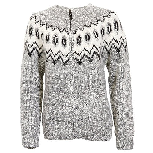 ICEWEAR Hulda 100% Icelandic wool hand knitted Jumper with Zipper