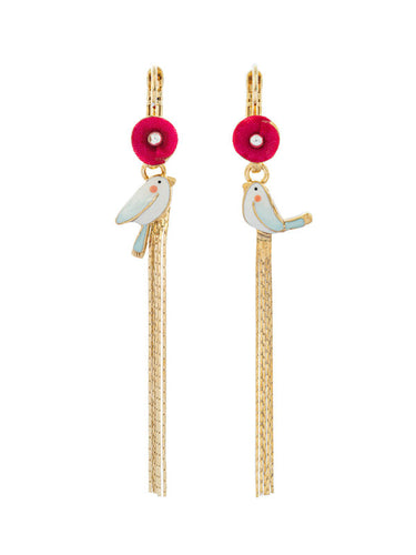 Taratata Bird with Gold Tassel Earrings - Sur La Bouche