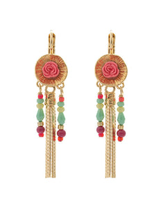 Taratata Rosebud with Gold Tassel Earrings - Rosalie