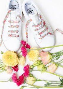 Liberty Fabric Shoelaces - Amelie F Pink