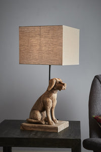 Small Wooden Dog Lamp