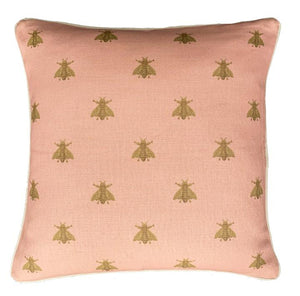 Pink Bees Cushion Cover