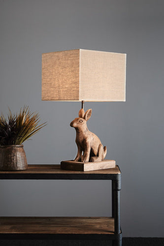 Small Wooden Rabbit Lamp