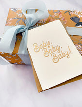 Petite Baby Baby Baby Card - Gold Letterpress