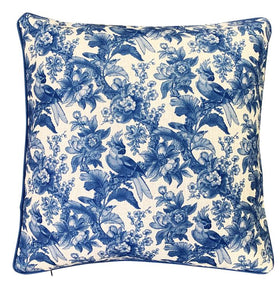 Blue Cockatoo Damask Cushion Cover