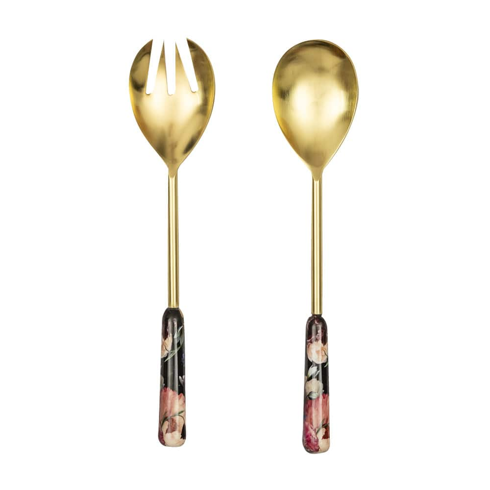 Brass and Floral Salad Servers