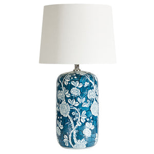 Ink Blue and White Floral Lamp