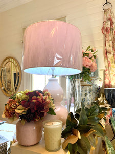Pale Pink Ceramic Lamp Base and White Shade