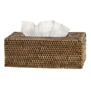 Rattan Tissue Box Cover - Brown