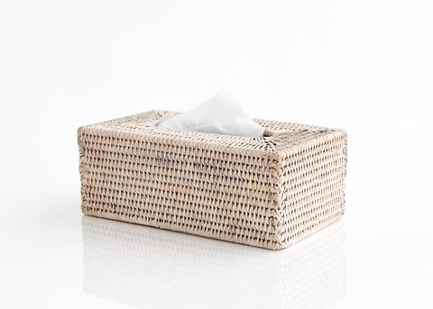 Rattan Tissue Box Cover - White wash