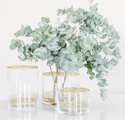 Bloom Glass Vase with Matt Brass Insert