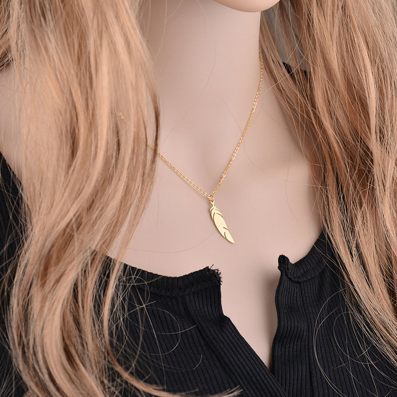 Signature Gold Feather Pendant Necklace