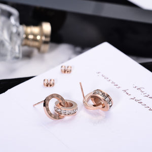 Interlocked Dial Stud Earrings