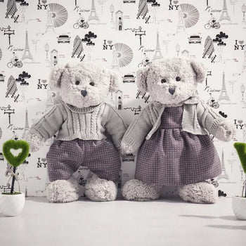 A Couple's Teddy Bear Doll Wear Clothes