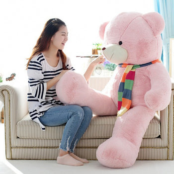 New Style Pink Teddy Bear with Color Scarf Very Beautiful