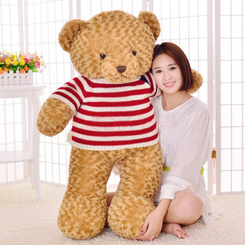 Rose Velvet Teddy Bear Light Brown Wear Sweater - MxDeals.com