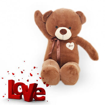 Dark Brown Teddy Bear with Ribbon Valentine's Day Gift - MxDeals.com