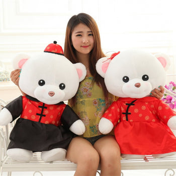 Teddy Bear Doll Couple's a Valentine's Day Gift Married Gift Wear Tang Suit - MxDeals.com